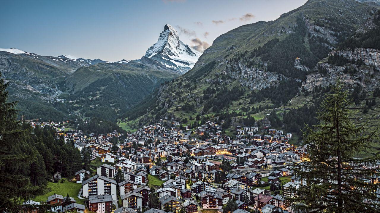 Valais, summer, mountain, valley, panorama, meadow, forest, village, Matterhorn, evening atmosphere